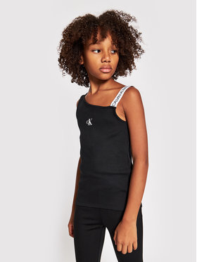 Calvin Klein Jeans Calvin Klein Jeans Top Asymmetric Logo IG0IG00928 Černá Regular Fit