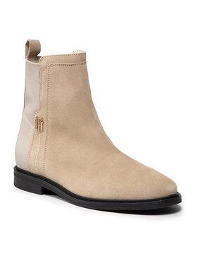 Tommy Hilfiger Tommy Hilfiger Členková obuv s elastickým prvkom Th Essentials Flat Boot FW0FW05995 Béžová