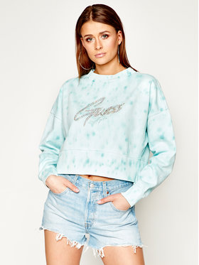 Guess Guess Džemperis Lucinda Fleece W0GQ24 K68I0 Žalia Regular Fit