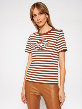 Tory Burch Tory Burch T-Shirt Striped Logo 63871 Kolorowy Regular Fit