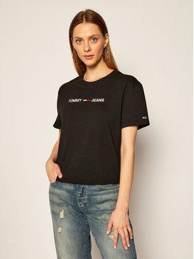 Tommy Jeans Tommy Jeans T-Shirt Tjw Modern Linear Logo DW0DW08615 Schwarz Relaxed Fit