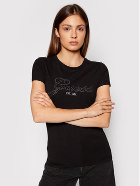 Guess Guess Marškinėliai Selina W1YI85 J1311 Juoda Slim Fit