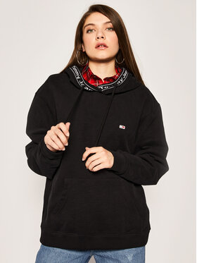Tommy Jeans Tommy Jeans Μπλούζα Tjw Branded Rib Hoodie DW0DW07965 Μαύρο Relaxed Fit