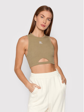 adidas adidas Top adicolor Essentials H06615 Zielony Slim Fit