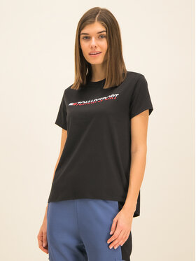 Tommy Sport Tommy Sport T-Shirt Logo S10S100061 Czarny Regular Fit