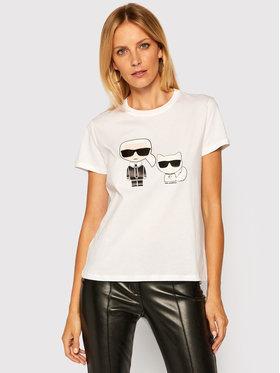 KARL LAGERFELD KARL LAGERFELD T-shirt Ikonik Karl & Choupette 205W1707 Blanc Regular Fit