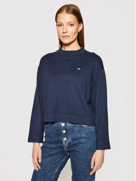 Tommy Jeans Tommy Jeans Pulover Essential DW0DW09802 Bleumarin Regular Fit
