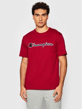 Champion Champion T-Shirt Script Logo 216473 Czerwony Comfort Fit