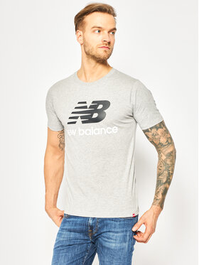 New Balance New Balance T-Shirt Essentials Stacked Logo Tee MT01575 Γκρι Athletic Fit