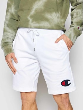 Champion Champion Pantaloni scurți sport C Logo Terry Bermuda 214192 Alb Regular Fit
