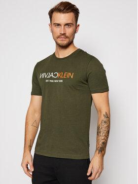 Calvin Klein Calvin Klein T-Shirt Text Reverse Front Logo K10K106402 Zielony Regular Fit