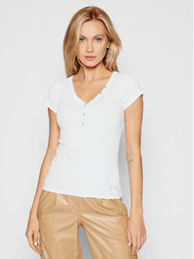 Guess Guess Bluse Henley W0GI62 R9I50 Weiß Slim Fit