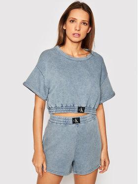 Calvin Klein Swimwear Calvin Klein Swimwear Majica dugih rukava Cropped Top KW0KW01548 Plava Regular Fit