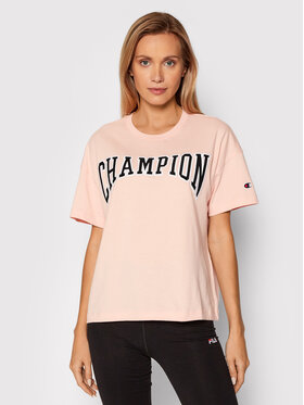 Champion Champion T-Shirt Collegiate Logo 114526 Różowy Oversize