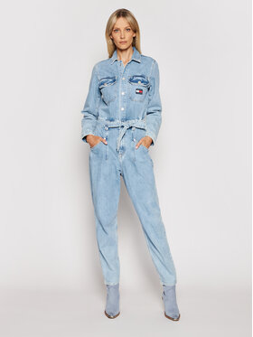 Tommy Jeans Tommy Jeans Kombinezon Mom Jumpsuit Ulbr DW0DW10106 Niebieski Regular Fit