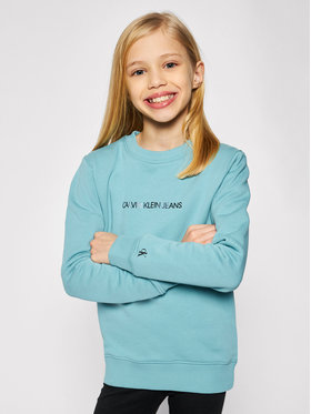 Calvin Klein Jeans Calvin Klein Jeans Mikina Metallic Chest Logo IG0IG00577 Modrá Regular Fit