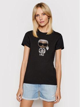 KARL LAGERFELD KARL LAGERFELD T-shirt Ikonik Rhinestone Karl 210W1726 Crna Regular Fit