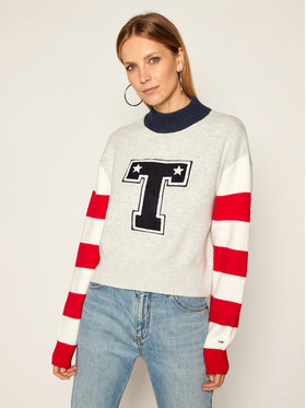 Tommy Jeans Tommy Jeans Megztinis Varsity DW0DW08869 Pilka Loose Fit