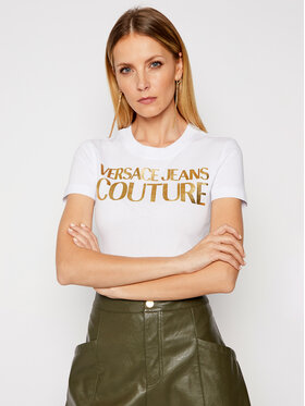 Versace Jeans Couture Versace Jeans Couture Marškinėliai B2HWA7TB Balta Slim Fit