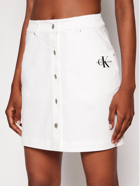 Calvin Klein Jeans Calvin Klein Jeans Džínsová sukňa J20J215720 Biela Regular Fit