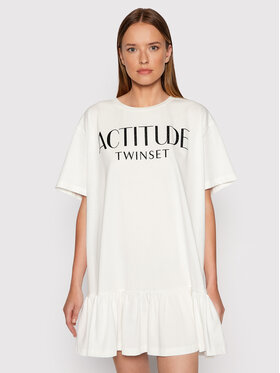 TWINSET TWINSET Každodenní šaty 212AT211C Bílá Regular Fit