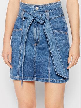 Tommy Jeans Tommy Jeans Fustă de blugi New Paperbag Mom Denim DW0DW10104 Albastru Regular Fit