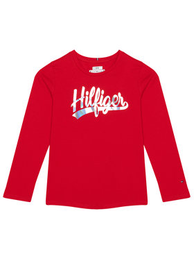 TOMMY HILFIGER TOMMY HILFIGER Bluză Script Foil Film Tee KG0KG05501 D Roșu Regular Fit