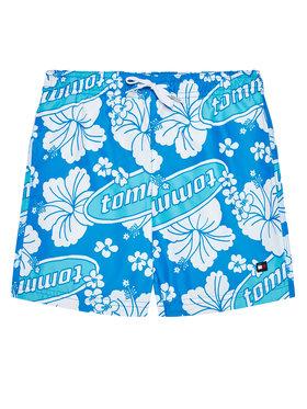 Tommy Hilfiger Tommy Hilfiger Plavecké šortky Medium Drawstring-Print UB0UB00385 Modrá Regular Fit