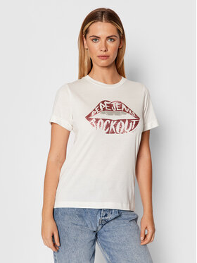 Pepe Jeans Pepe Jeans T-Shirt Lips PL505005 Bílá Regular Fit