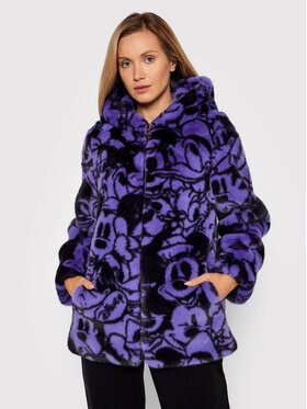 Fracomina Fracomina Pelzmantel FD21WC4001O412N4 Violett Regular Fit