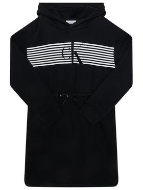Calvin Klein Jeans Calvin Klein Jeans Každodenní šaty Striped Ck Hood IG0IG00605 Černá Regular Fit