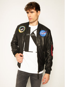 Alpha Industries Alpha Industries Lederjacke Ma-1 Nasa 126151 Schwarz Regular Fit
