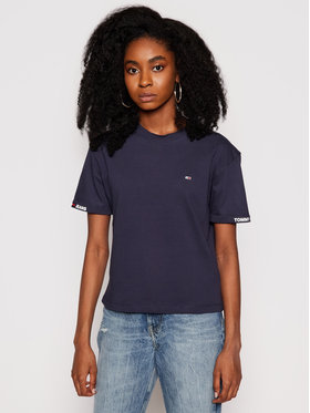 Tommy Jeans Tommy Jeans T-Shirt Crop Branded DW0DW10130 Granatowy Cropped Fit