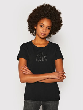 Calvin Klein Calvin Klein Тишърт Ck Stud Logo K20K202155 Черен Regular Fit