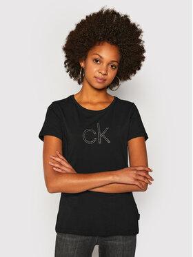 Calvin Klein Calvin Klein Tričko Ck Stud Logo K20K202155 Čierna Regular Fit