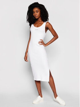 Calvin Klein Jeans Calvin Klein Jeans Každodenní šaty J20J216177 Bílá Slim Fit