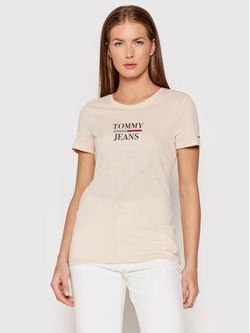 Tommy Jeans Tommy Jeans T-Shirt Essential DW0DW10411 Beżowy Skinny Fit