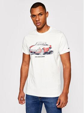 Pepe Jeans Pepe Jeans Marškinėliai Gary PM507755 Balta Regular Fit