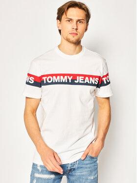Tommy Jeans Tommy Jeans Tričko Tjm Double Stripe Logo DM0DM07862 Biela Regular Fit