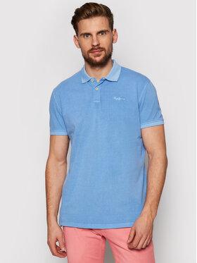 Pepe Jeans Pepe Jeans Тениска с яка и копчета Vincent Gd PM541225 Син Slim Fit