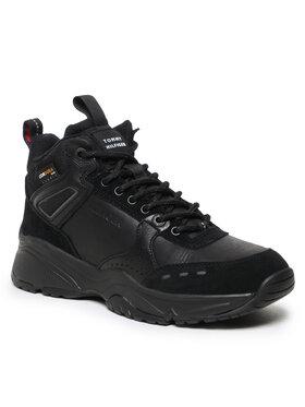 Tommy Hilfiger Tommy Hilfiger Sneakersy High Sneaker Boot Leather FM0FM03273 Czarny
