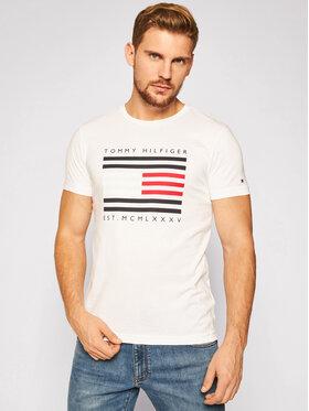 Tommy Hilfiger Tommy Hilfiger T-shirt Corp Flag Lines Tee MW0MW15334 Bianco Regular Fit