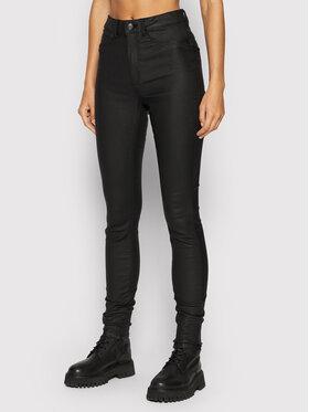 Noisy May Noisy May Spodnie z imitacji skóry Callie 27012746 Czarny Slim Fit