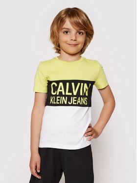 Calvin Klein Jeans Calvin Klein Jeans Marškinėliai Colour Block Logo Fitted IB0IB00887 Geltona Regular Fit