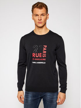 KARL LAGERFELD KARL LAGERFELD Pulover Knit Crewneck 655028 502304 Negru Regular Fit