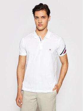 Tommy Hilfiger Tommy Hilfiger Тениска с яка и копчета MW0MW17789 Бял Slim Fit