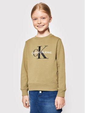 Calvin Klein Jeans Calvin Klein Jeans Majica dugih rukava Monogram Logo IU0IU00069 Zelena Regular Fit
