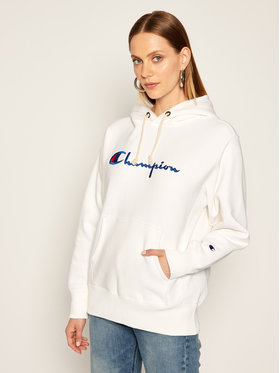 Champion Champion Džemperis Script Logo 113794 Balta Regular Fit