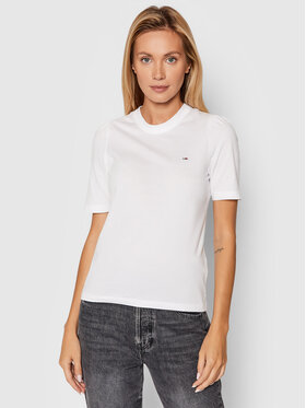 Tommy Jeans Tommy Jeans T-Shirt Ruffled DW0DW09775 Bílá Slim Fit