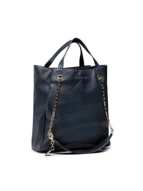 Tommy Hilfiger Tommy Hilfiger Geantă Luxe Leather Tote AW0AW10248 Bleumarin